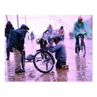 China in winter, Mending the bike Postcard