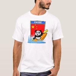 Men's Basic T-Shirt with Chinese Kayaking Panda design