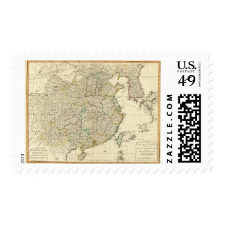 China, Korea atlas map Postage