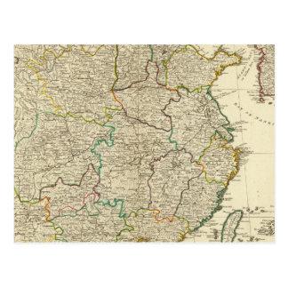 China, Korea atlas map Postcard