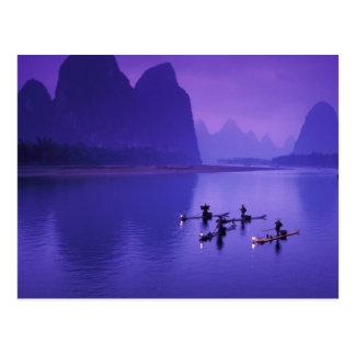 China, Li River. Cormorant fishermen. Postcard