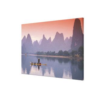 China, Li River. Single cormorant fisherman. Canvas Print