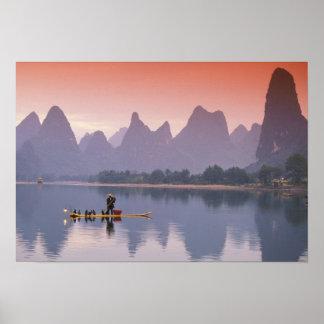 China, Li River. Single cormorant fisherman. Poster