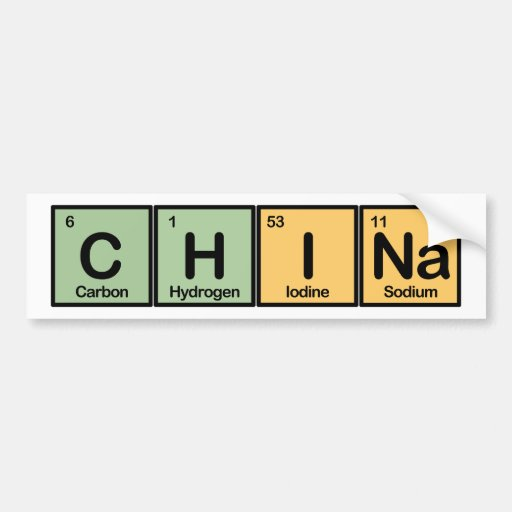 China made of Elements Bumper Sticker