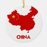 CHINA MAP Double-Sided CERAMIC ROUND CHRISTMAS ORNAMENT
