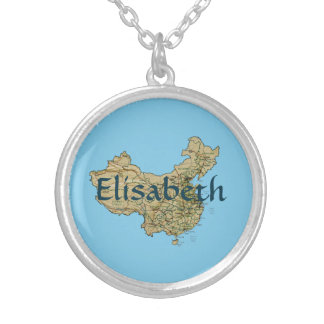 China Map + Name Necklace