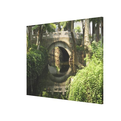 China, Nantong, an arched bridge forms a perfect Stretched Canvas Prints