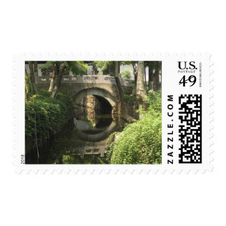 China, Nantong, an arched bridge forms a perfect Postage