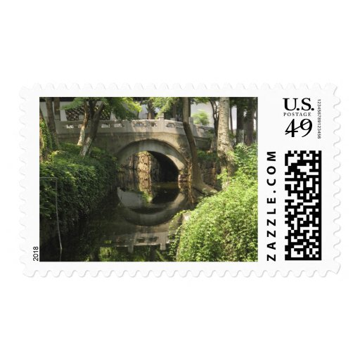 China, Nantong, an arched bridge forms a perfect Stamps
