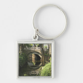 China, Nantong, an arched bridge forms a perfect Silver-Colored Square Keychain