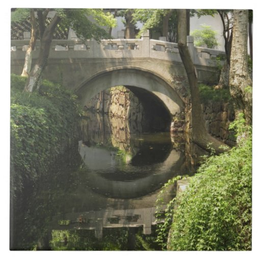 China, Nantong, an arched bridge forms a perfect Tile