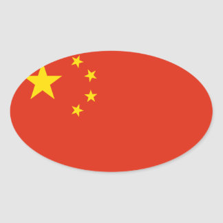 China National Flag Oval Sticker
