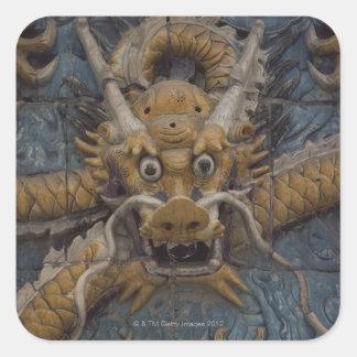 China, Pekín, la ciudad Prohibida, dragón nueve Pegatina Cuadrada