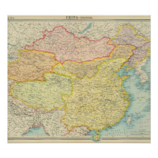 China political map poster