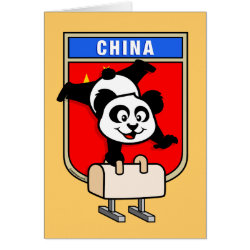 Chinese Pommel Horse Panda Greeting Card