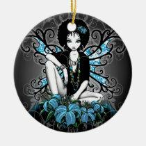 china, retro, teal, afro, ethnic, yin, yang, fantasy, fairy, faery, fae, faerie, pixies, art, myka, jelina, mika, big, eyed, flower, flora, faeries, Ornament with custom graphic design