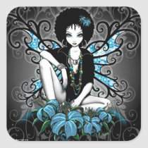 china, retro, teal, afro, ethnic, yin, yang, fantasy, fairy, faery, fae, faerie, pixies, art, myka, jelina, mika, big, eyed, flower, flora, faeries, nymphs, sprites, Sticker with custom graphic design