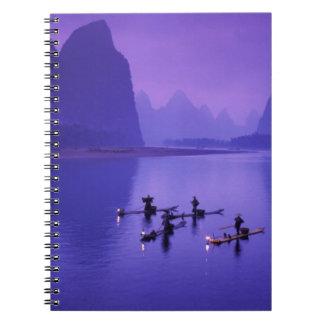 China, río de Li. Pescadores del cormorán Libreta