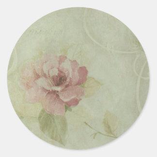 china rose classic round sticker