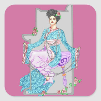 China Rose & Pearls Square Sticker