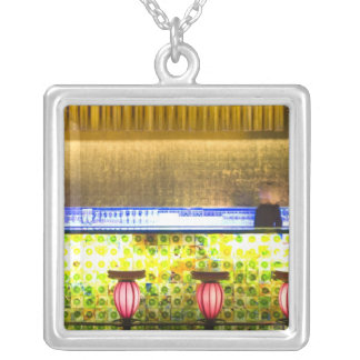 China, Shanghai. Bar in the Xin Tian Di bar 2 Silver Plated Necklace