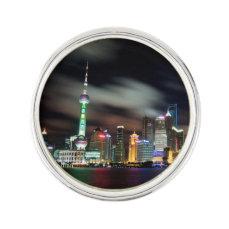 China, Shanghai Skyline by Night Lapel Pin