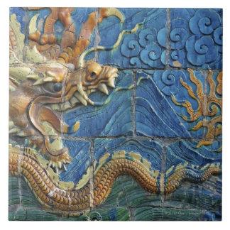 China, Shanxi, Datong, pared de nueve dragones Azulejo Cuadrado Grande
