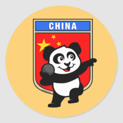 Round Sticker with Chinese Shot Put Panda design