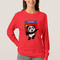 Women's Basic Long Sleeve T-Shirt with Chinese Shot Put Panda design