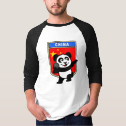 Men's Basic 3/4 Sleeve Raglan T-Shirt with Chinese Shot Put Panda design