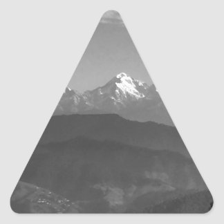 China Snow Views from hills of Almora India Triangle Sticker