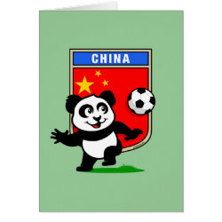 China Football Panda Greeting Card