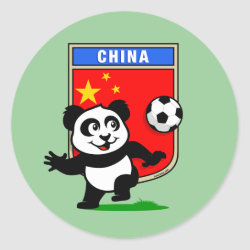 Round Sticker with China Football Panda design