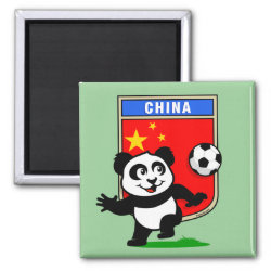 Square Magnet with China Football Panda design
