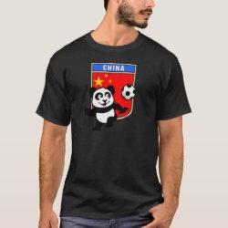 Men's Basic Dark T-Shirt with China Football Panda design