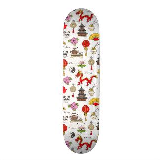 China Symbols Pattern Skateboard Deck