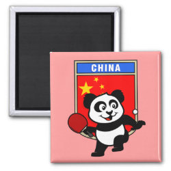 Square Magnet with Chinese Table Tennis Panda design