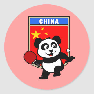 China Table Tennis Panda Round Stickers