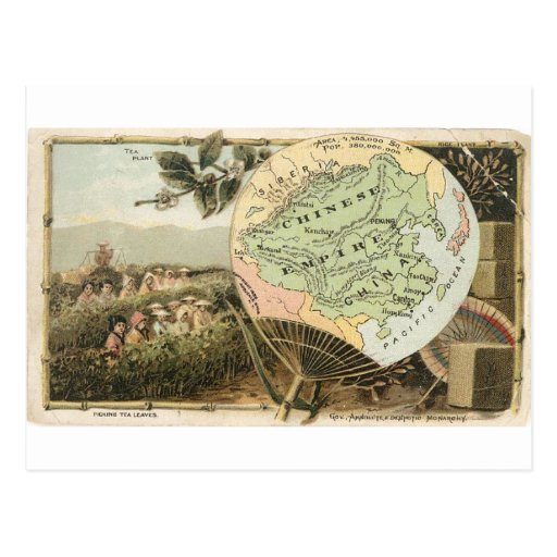 China, tarjeta 1889 del vintage tarjetas postales