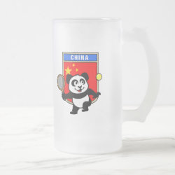 Frosted Glass Mug with China Tennis Panda design