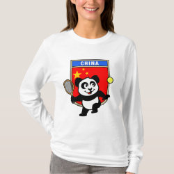 Women's Basic Long Sleeve T-Shirt with China Tennis Panda design