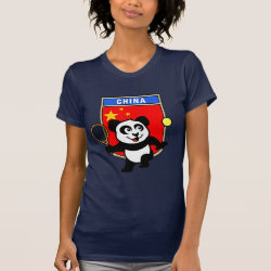 Women's American Apparel Fine Jersey Short Sleeve T-Shirt with China Tennis Panda design