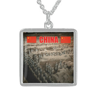 CHINA Terracotta Army Square Pendant Necklace