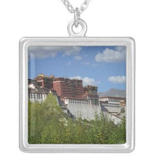 China, Tibet, Lhasa, Potala Palace 3 Silver Plated Necklace