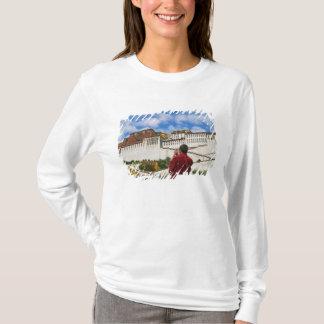 China, Tibet, Lhasa, Tibetan monk with Potala T-Shirt