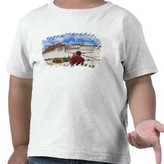 China, Tibet, Lhasa, Tibetan monk with Potala Tshirts