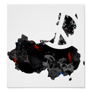 China Trendy Peace Sign with Chinese map Print