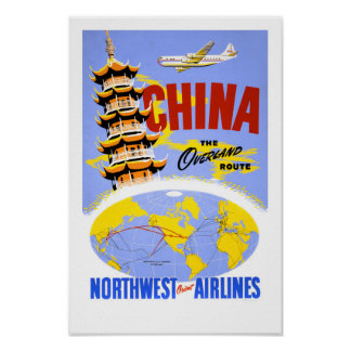 China Vintage Travel Poster Restored