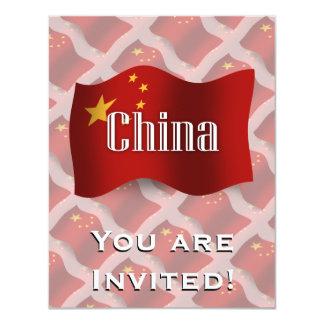China Waving Flag 4.25x5.5 Paper Invitation Card