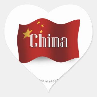 China Waving Flag Heart Sticker